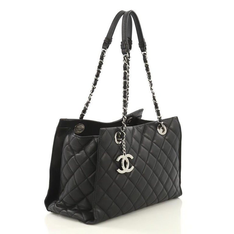 Black Chanel Chic and Soft Shopping Tote Quilted Calfskin Small