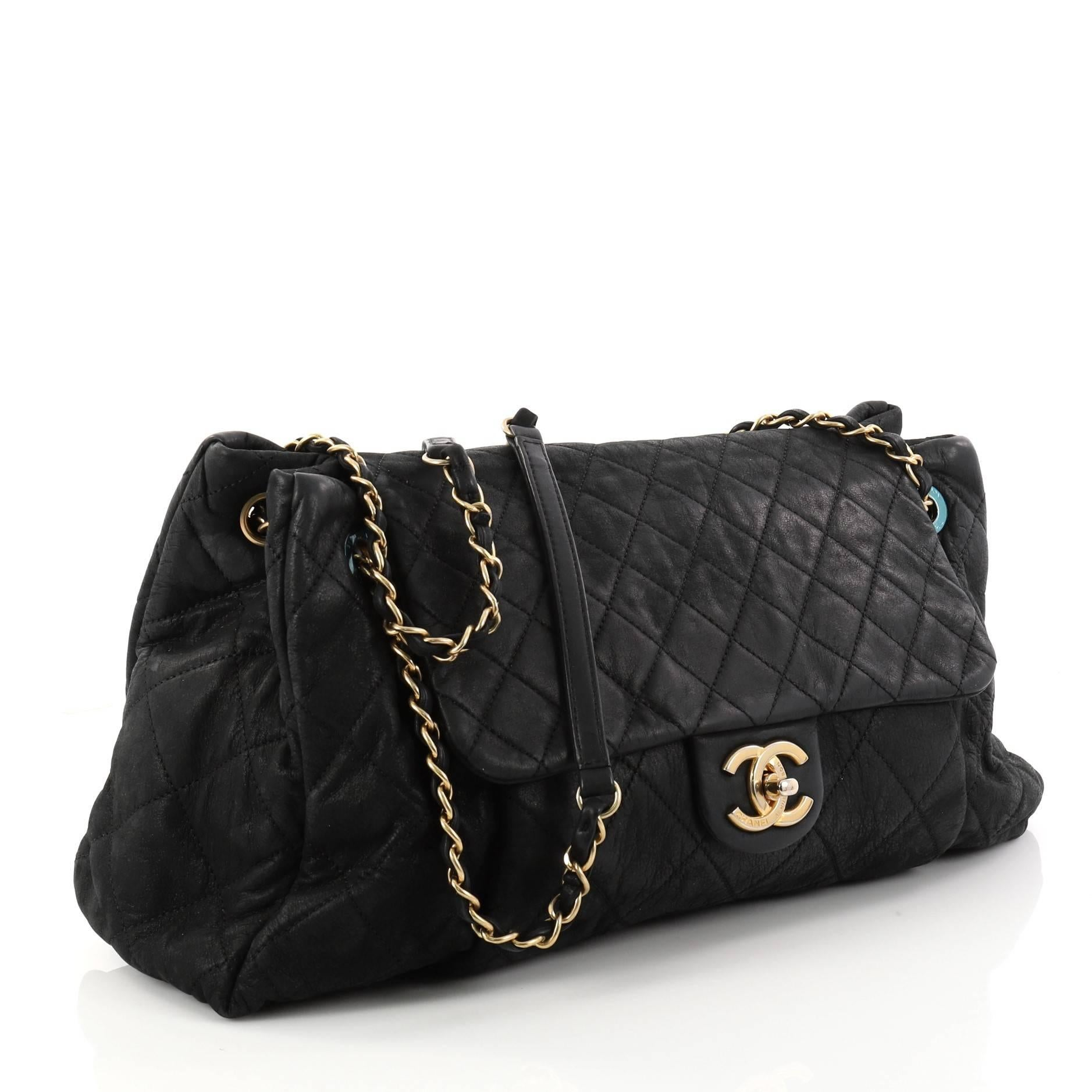 c0380becbfb30c Chanel Chic Quilt Accordion Flap Bag Quilted Iridescent Calfskin Large at  1stdibs