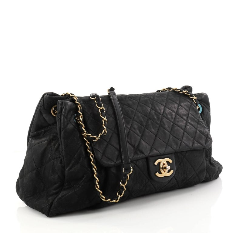 700d7405802e8f Black Chanel Chic Quilt Accordion Flap Bag Quilted Iridescent Calfskin  Large For Sale