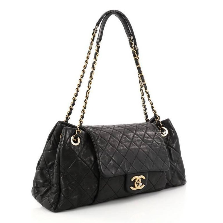 e139734737a581 Black Chanel Chic Quilt Accordion Flap Bag Quilted Iridescent Calfskin  Medium For Sale