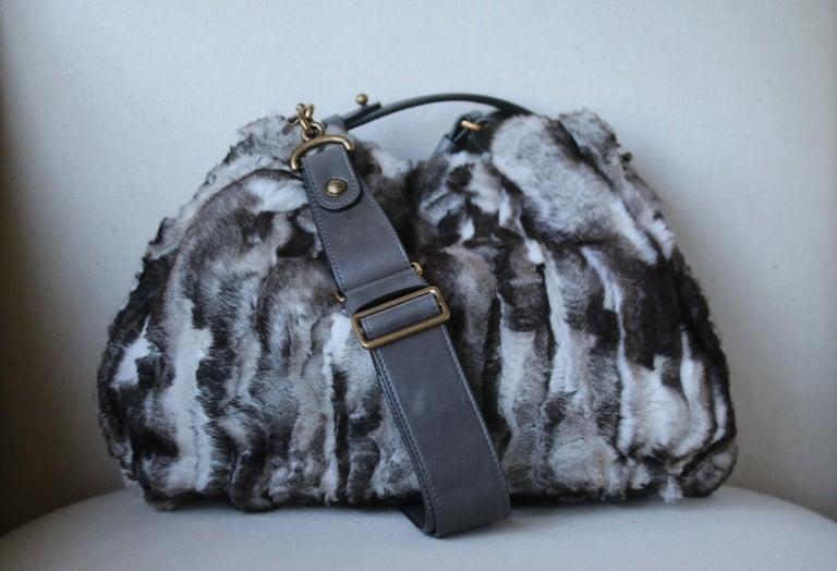 Black Chanel Chinchilla Fur Chain Drawstring Shoulder Bag  For Sale