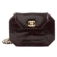 Chanel Chocolate Alligator Leather Octagon 2in1 Evening Clutch Shoulder Flap Bag