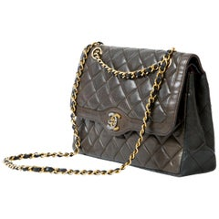 Chanel Chocolate and Black LambskinTwo Tone Double Flap Diana Bag Quilted