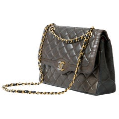 Chanel Chocolate and Black Two Tone Double Flap Bag Quilted Lambskin