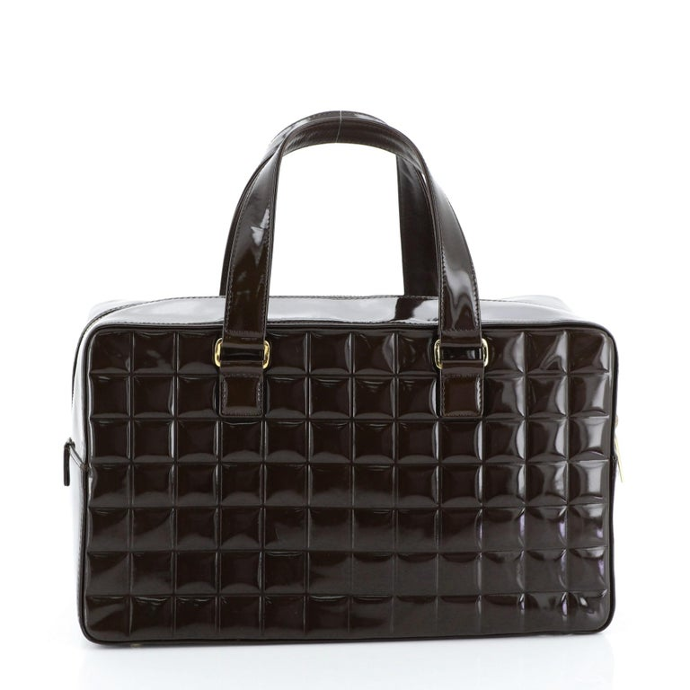 Chanel Chocolate Bar CC Bowler Bag Quilted Patent Large In Good Condition For Sale In New York, NY