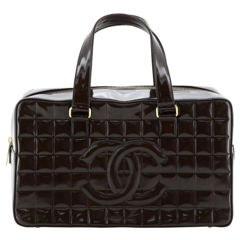 Chanel Chocolate Bar CC Bowler Bag Quilted Patent Large For Sale