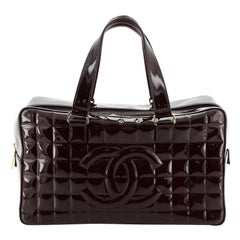 Chanel Chocolate Bar CC Bowler Bag Quilted Patent Large