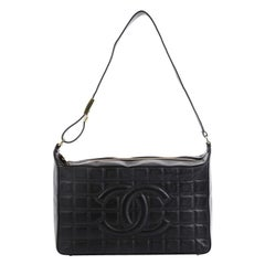 Chanel Chocolate Bar CC Shoulder Bag Quilted Leather Medium