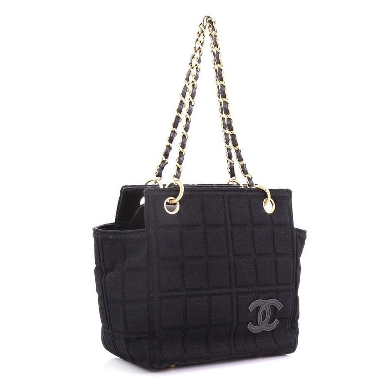 Black Chanel Chocolate Bar Chain Tote Quilted Canvas Small For Sale