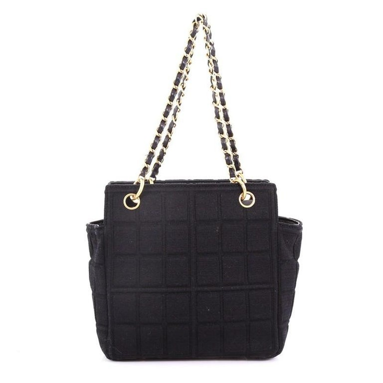 Chanel Chocolate Bar Chain Tote Quilted Canvas Small In Good Condition For Sale In New York, NY