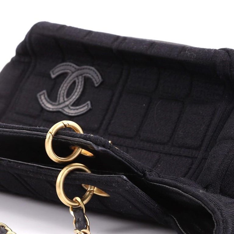 Chanel Chocolate Bar Chain Tote Quilted Canvas Small For Sale 3