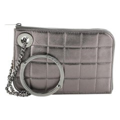 Chanel Chocolate Bar Handcuff Clutch Quilted Leather Small