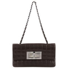 Chanel Chocolate Bar Mademoiselle Flap Bag Quilted Leather Small