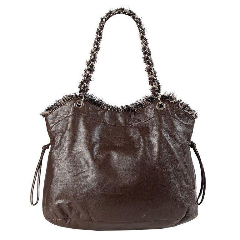 Black Chanel chocolate brown leather & BOUCLE LARGE SHOPPER Shoulder Bag For Sale