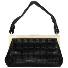 Chanel Chocolate Frame Bag W/ Rope Style Handle & Square Quilt Black Handbag