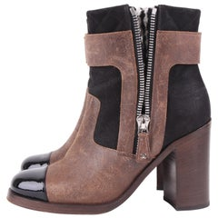 Chanel Chunky Ankle Boots - black/brown