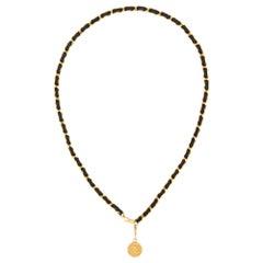 "Chanel Circa 1982 Vintage Medallion Black Leather Chain Link Belt 37"" CC Logo"
