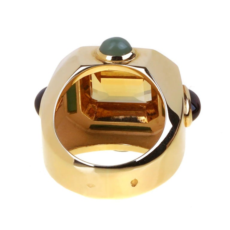 Chanel Paris Citrine Jade Gold Cocktail Ring In Excellent Condition For Sale In Feasterville, PA