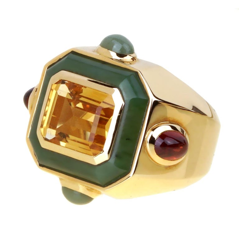 Women's or Men's Chanel Paris Citrine Jade Gold Cocktail Ring For Sale
