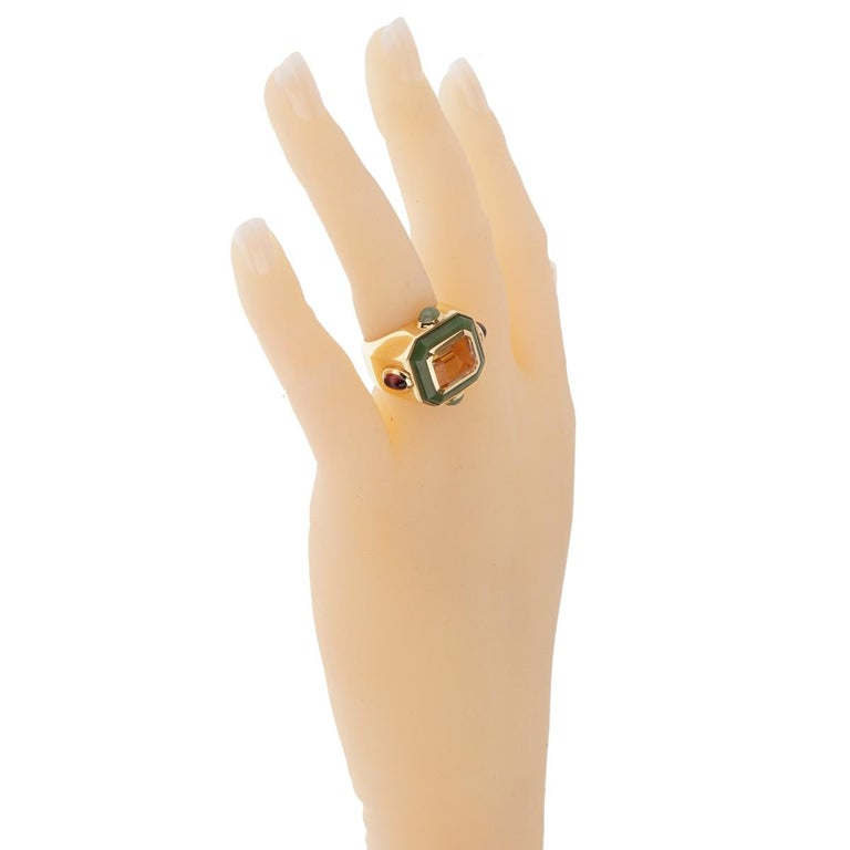 Chanel Paris Citrine Jade Gold Cocktail Ring For Sale 1
