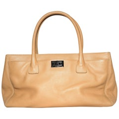 Chanel Clair Beige Top Handle Pebbled Leather Bag
