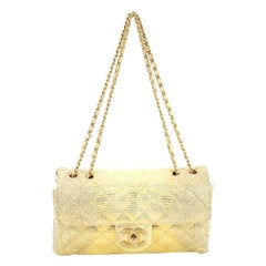 Chanel Clams Pocket Flap Bag Quilted Lizard Medium