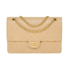 Chanel Classic 27cm shoulder bag in beige quilted lambskin and gold hardware
