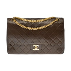 Chanel Classic 27cm shoulder bag in brown quilted lambskin and gold hardware