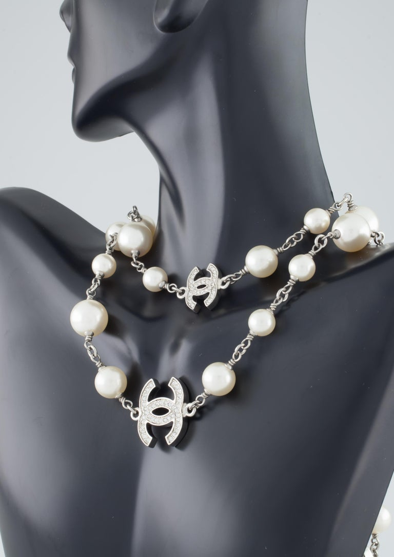 e5958e1cb0167 Chanel Classic Long Pearl Necklace with 5 CC Silver Crystal Logos
