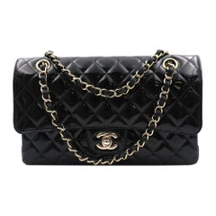 Chanel Classic Black Patent Leather Quilted Medium Double Flap Bag A01112