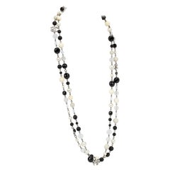 Chanel Classic Black & White Beaded Strand Necklace