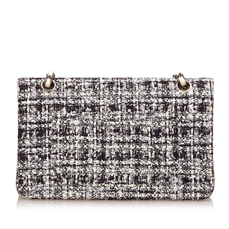 Gray Chanel Classic Black White Grey Cotton Tweed Medium Double Flap Shoulder Bag For Sale