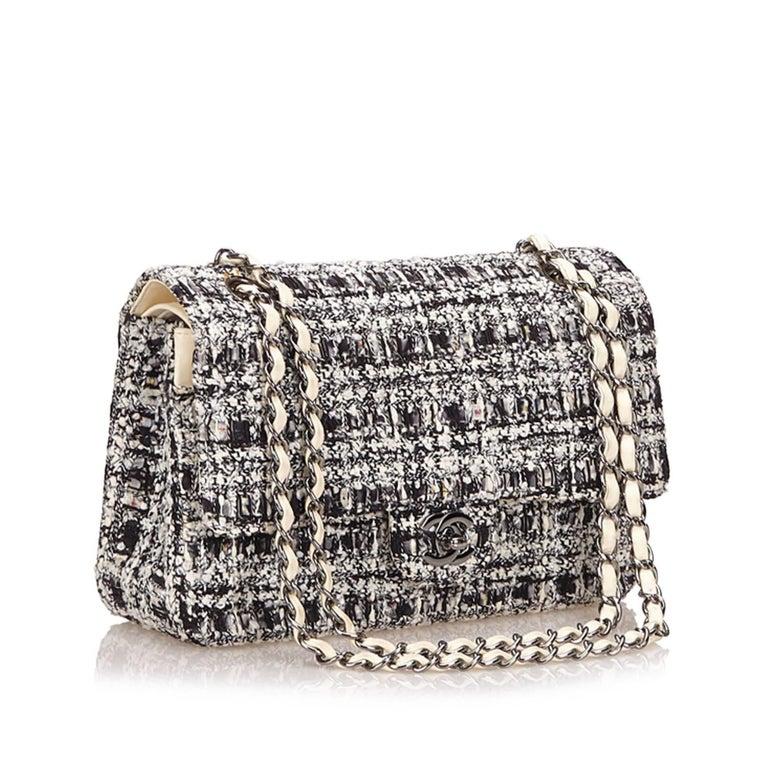 Women's Chanel Classic Black White Grey Cotton Tweed Medium Double Flap Shoulder Bag For Sale