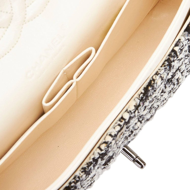 Chanel Classic Black White Grey Cotton Tweed Medium Double Flap Shoulder Bag For Sale 2