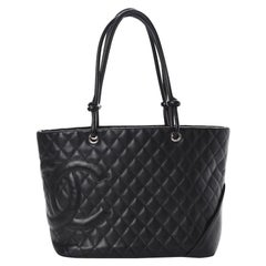 Chanel Classic Cambon Black tote with Pink interior lining Vintage