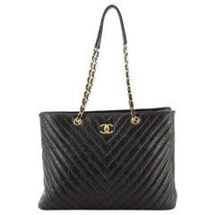 Chanel Classic CC Shopping Tote Chevron Metallic Calfskin Large