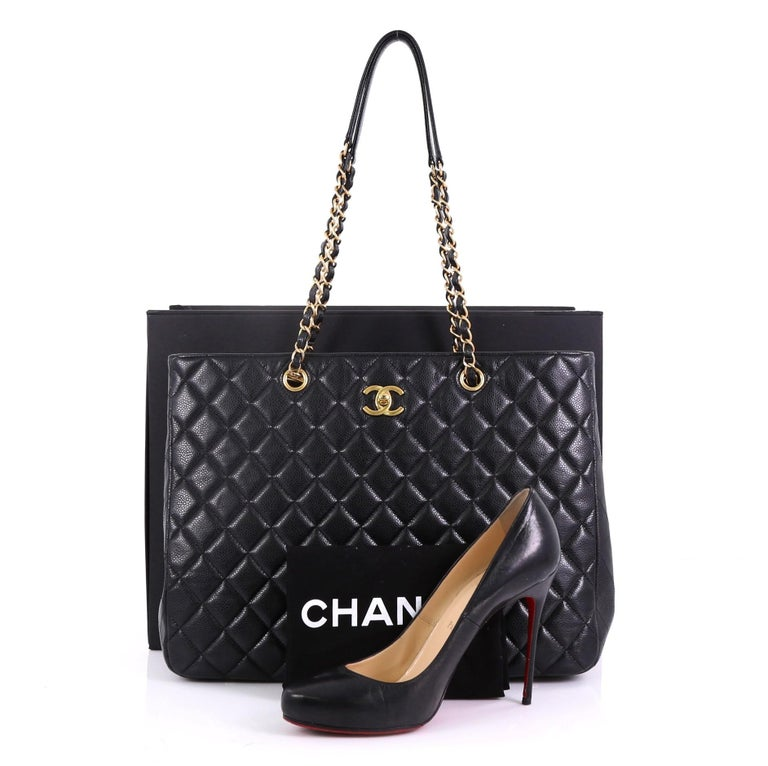 d1ada295ddaf91 This Chanel Classic CC Shopping Tote Quilted Caviar Large, crafted in black quilted  caviar leather