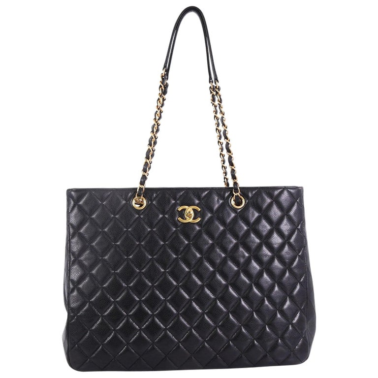 570ae8ddd3279f Chanel Classic CC Shopping Tote Quilted Caviar Large at 1stdibs
