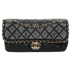 Chanel Classic Chain Me Around Single Flap Jumbo Maxi Cc Logo Black Shoulder Bag