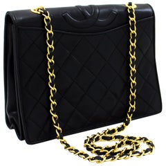 CHANEL Classic Chain Shoulder Bag Black Quilted Full Flap Lambskin Leather