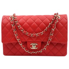 Chanel Classic Coral Red Quilted Caviar Gold Hardware Medium Flap Bag