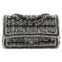 Chanel Classic Double Flap Bag Braided Quilted Tweed Medium