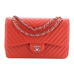 Chanel Classic Double Flap Bag Chevron Caviar Jumbo