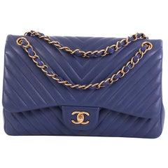 Chanel Classic Double Flap Bag Chevron Lambskin Jumbo