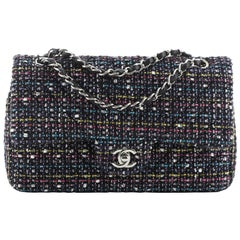 Chanel Classic Double Flap Bag Chevron Tweed Medium