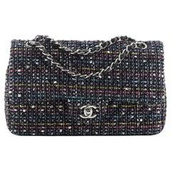 Chanel Classic Double Flap Bag Chevron Tweed Medium