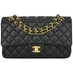 CHANEL Classic Double Flap Bag Medium Black Lambskin with Gold Hardware 2016