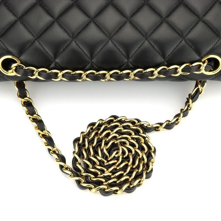 CHANEL Classic Double Flap Bag Medium Black Lambskin with Gold Hardware 2017 For Sale 8