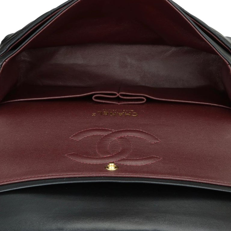 CHANEL Classic Double Flap Bag Medium Black Lambskin with Gold Hardware 2017 For Sale 12