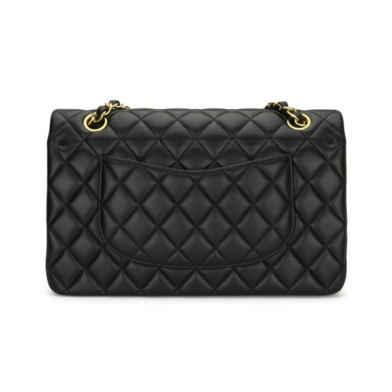 Women's or Men's CHANEL Classic Double Flap Bag Medium Black Lambskin with Gold Hardware 2017 For Sale